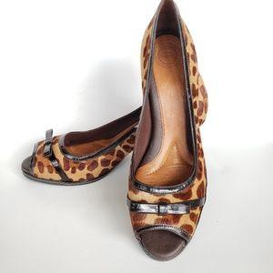 Nurture Sandee Calf Hair Leopard Print Peep Toe 10